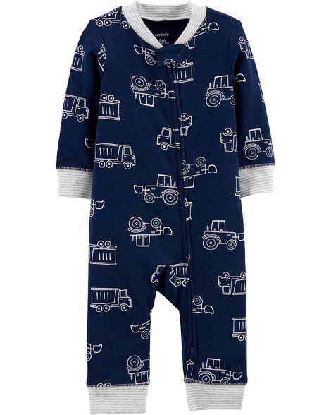 Pyjama 1 pièce sans pieds en coton ajusté à motif construction