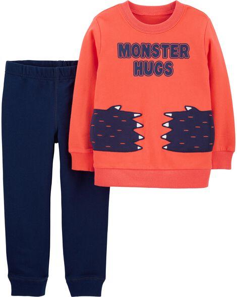 Ensemble 2 pièces chandail et pantalons Monster Hugs