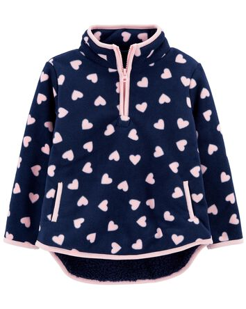 Half-Zip Sherpa Heart Pullover