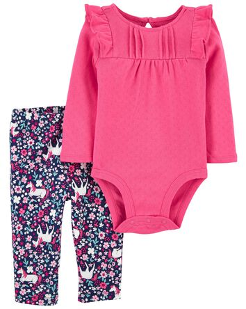 2-Piece Ruffle Bodysuit Pant Set