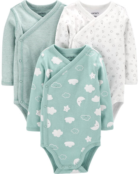 3-Pack Clouds Side-Snap Bodysuits