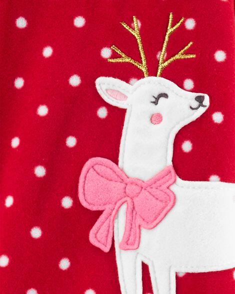 1-Piece Reindeer Fleece Footie PJs