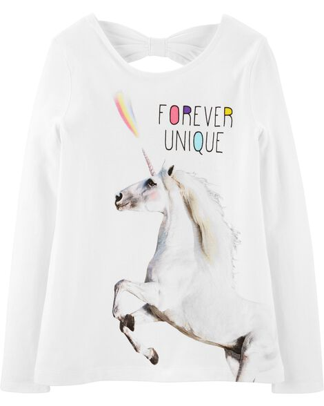 Unicorn Bow Back Jersey Tee