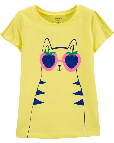 T-shirt en jersey à ouverture sur les épaules et motif de chat
