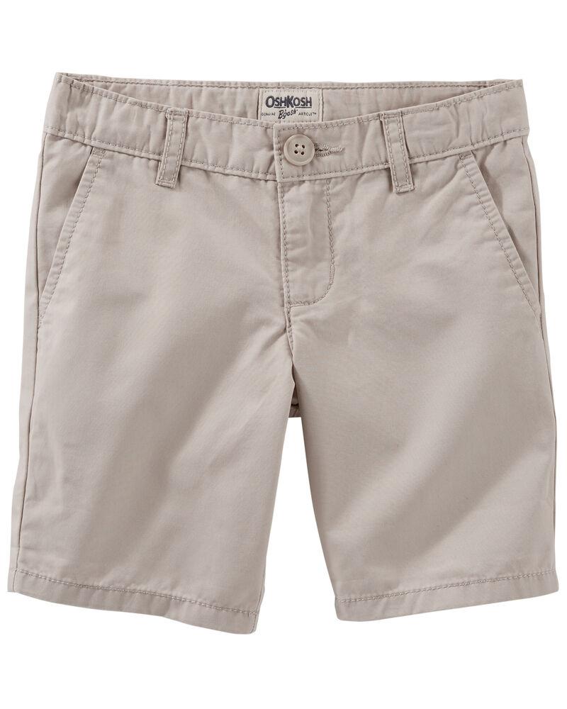 Flat-Front Twill Shorts, , hi-res
