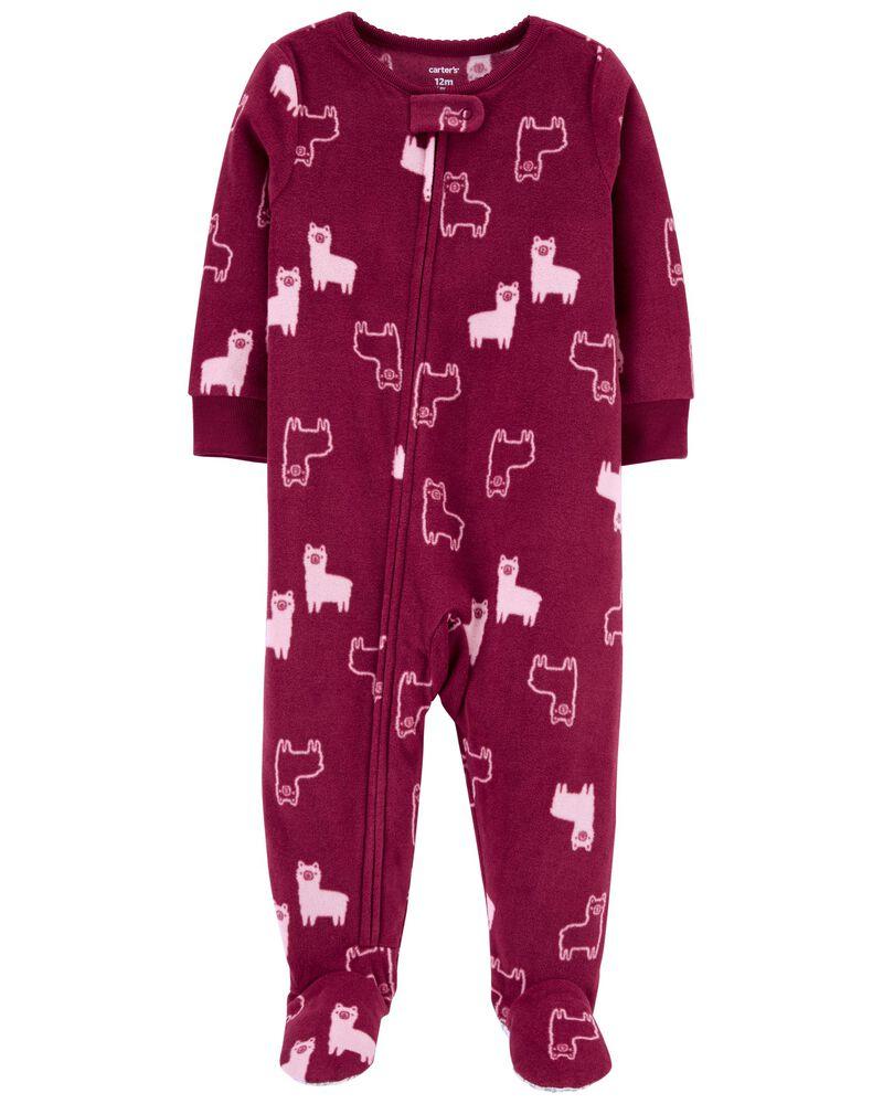 Pyjama 1 pièce à pieds en molleton avec lama, , hi-res