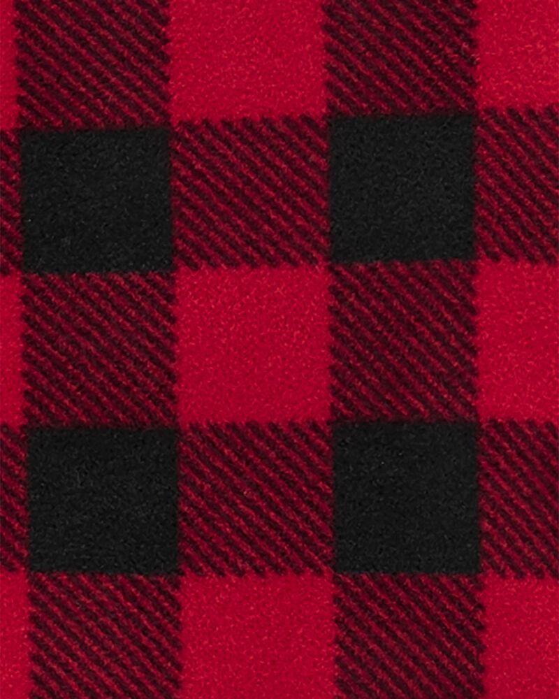 1-Piece Buffalo Check Fleece Footie PJs, , hi-res