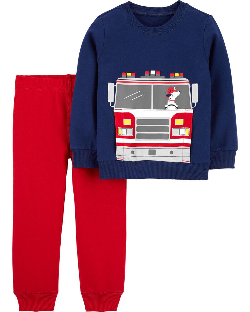 Ensemble 2 pièces en jersey t-shirt à camion d'incendie et pantalon, , hi-res