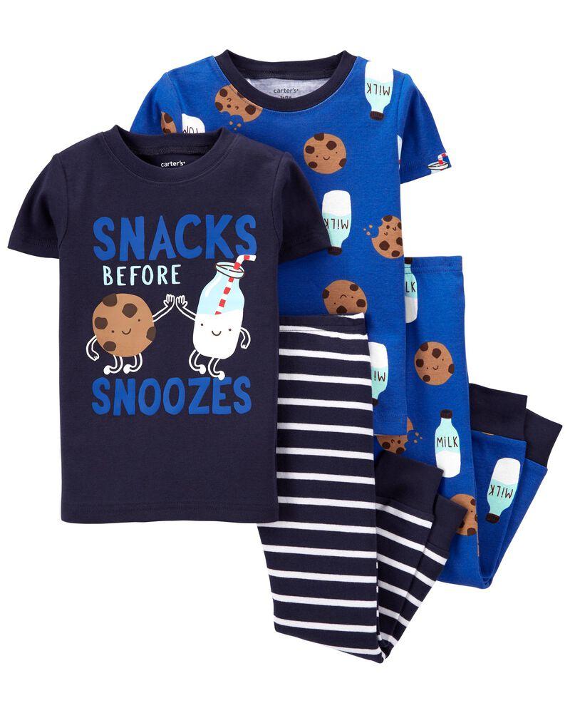 4-Piece Milk & Cookies 100% Snug Fit Cotton PJs, , hi-res