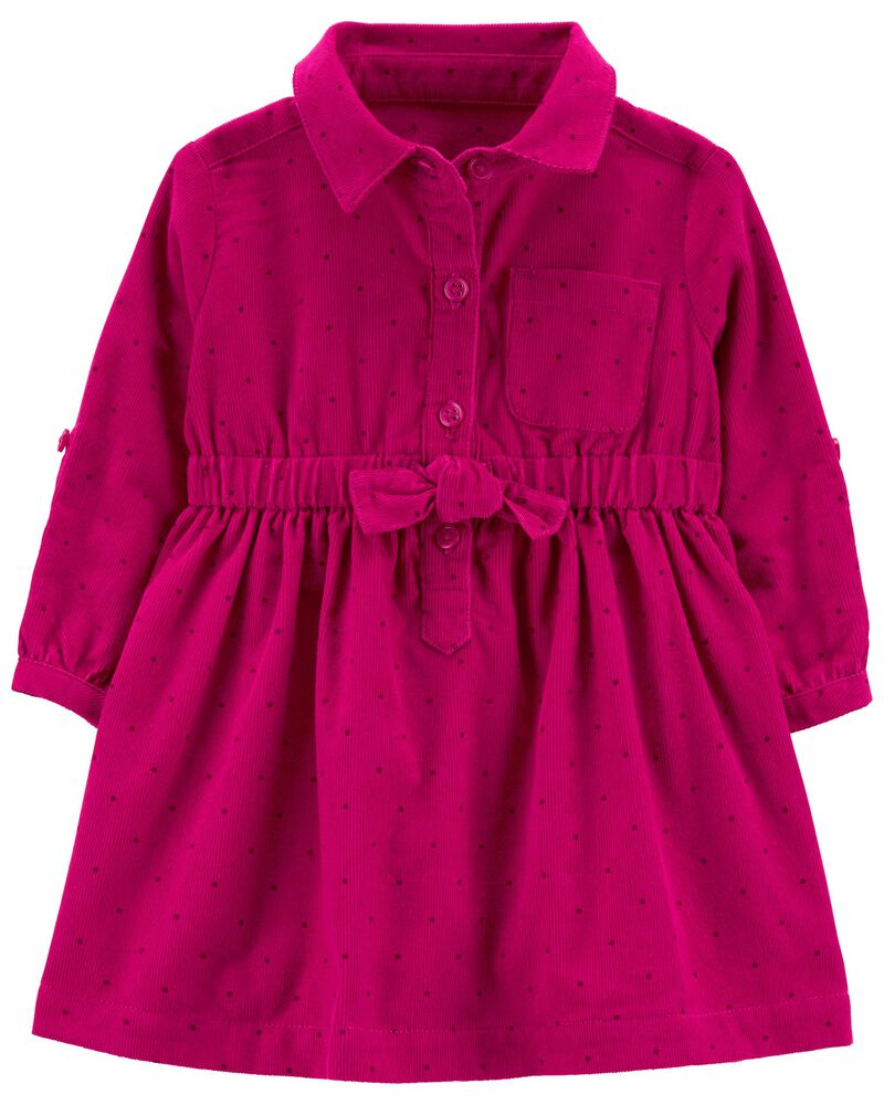 Corduroy Shirt Dress, , hi-res