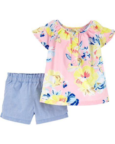 2-Piece Floral Poplin Top & Striped Short Set