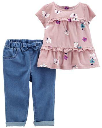 2-Piece Floral Twill Top & Jean Set