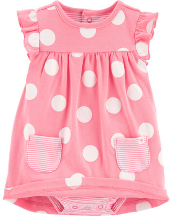 2-Piece Polka Dot Bodysuit Dress &...
