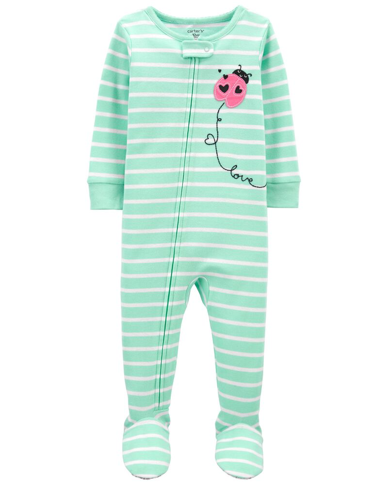 1-Piece Ladybug 100% Snug Fit Cotton Footie PJs, , hi-res