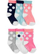 6-Pack Polka Dot Crew Socks, , hi-res