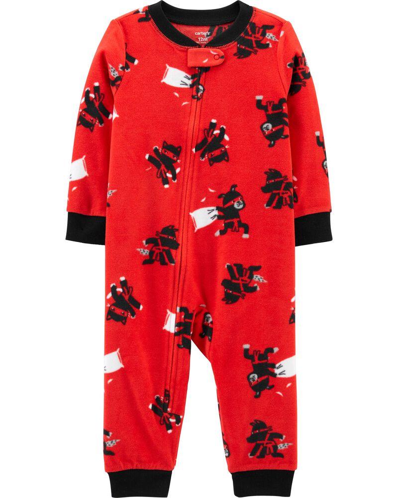 1-Piece Ninja Footless Fleece PJs, , hi-res