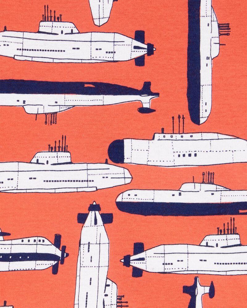 Pyjama 4 pièces en coton ajusté motif bateau, , hi-res