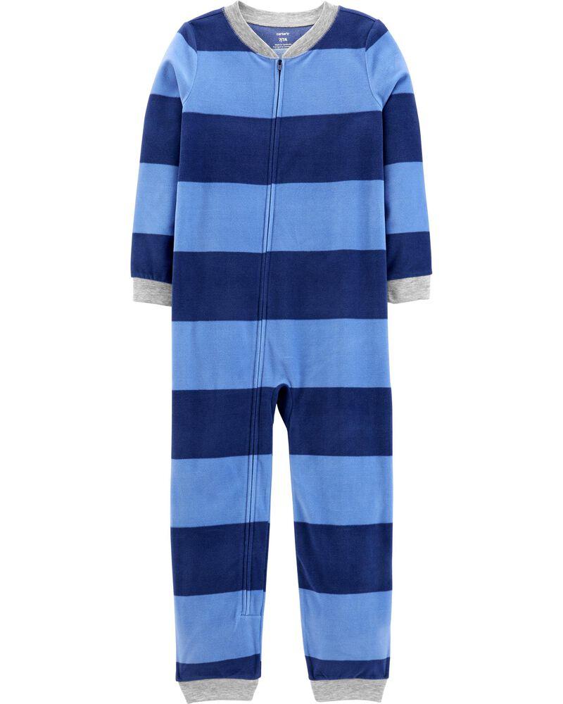 1-Piece Striped Fleece Footless PJs, , hi-res