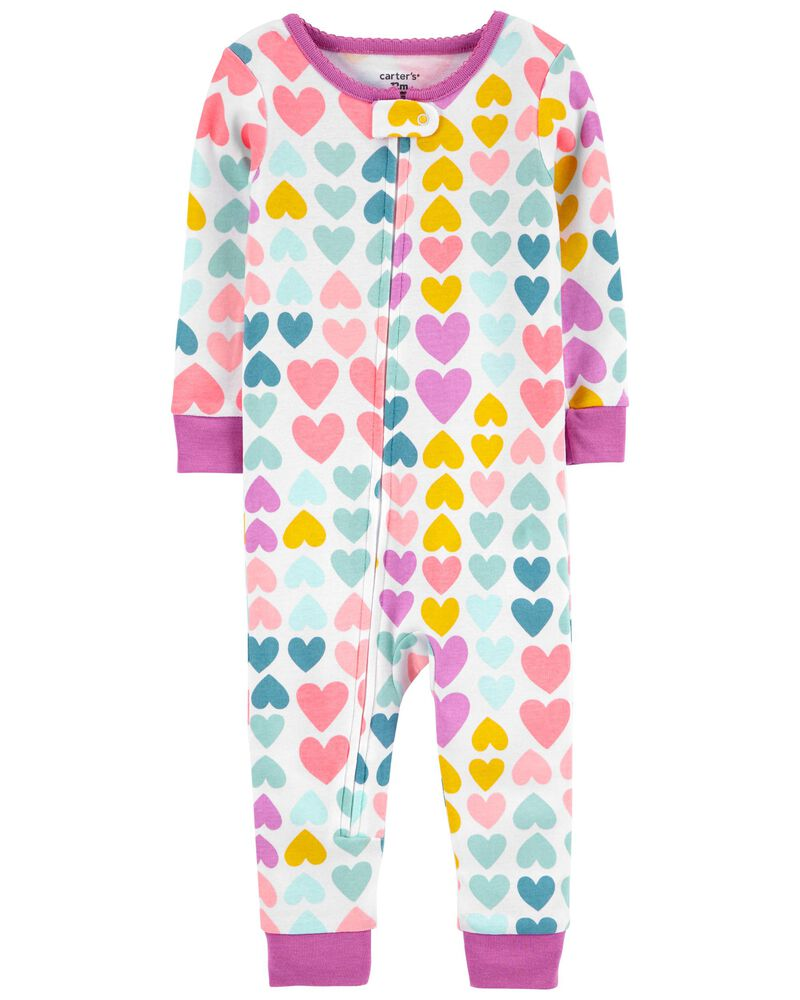 1-Piece Hearts 100% Snug Fit Cotton Footless PJs, , hi-res