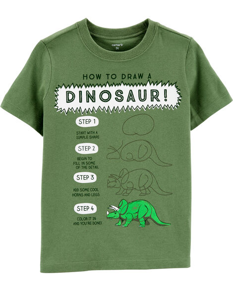 T-shirt en jersey How To Draw A Dinosaur