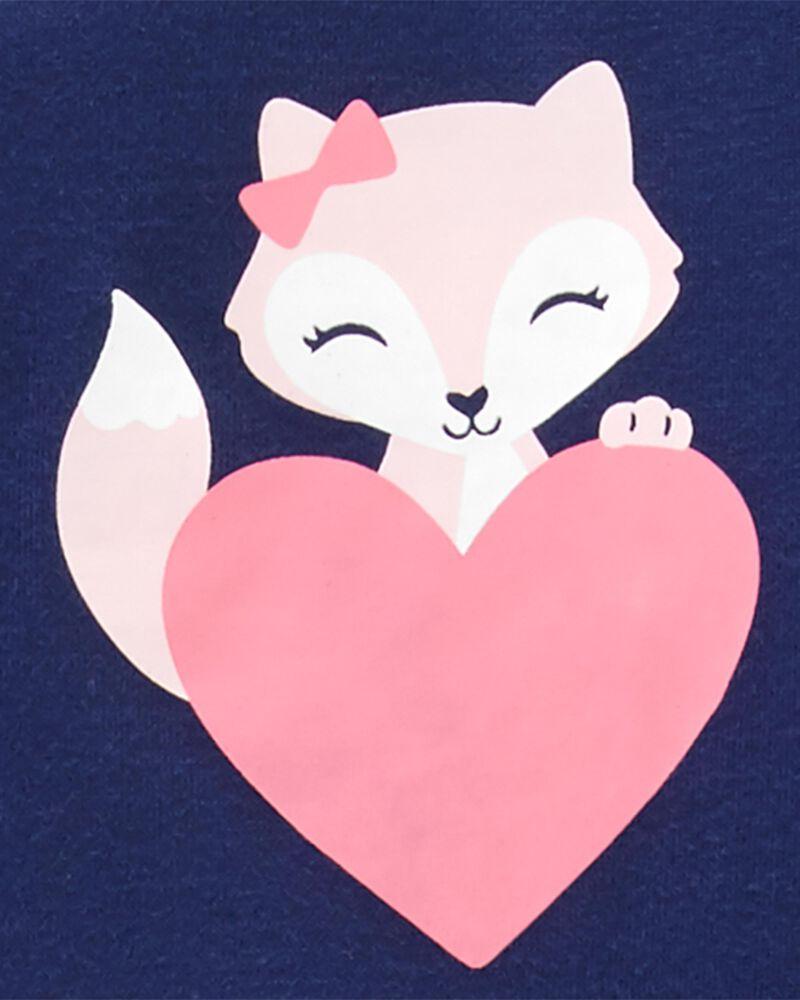 Pyjama 3 pièces en polyester motif cœur et renard, , hi-res