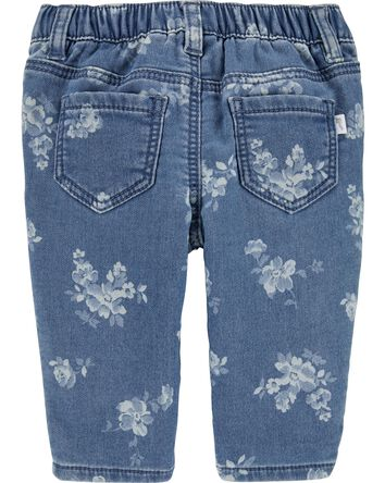 Jeans en tricot de denim fleuri