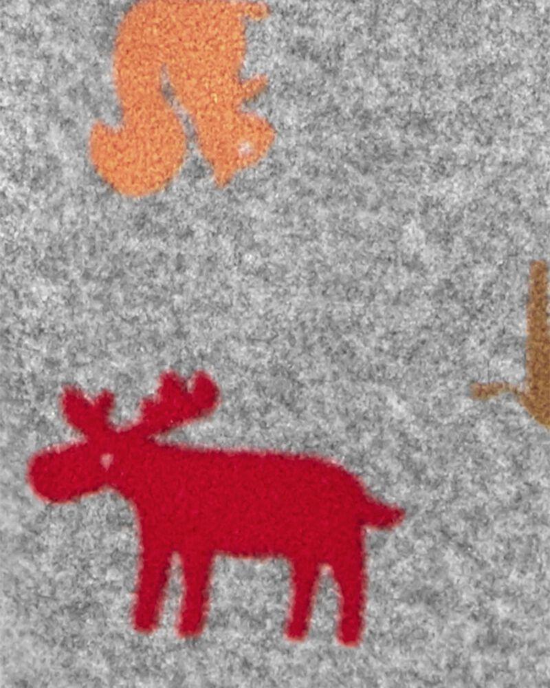 Combinaison en molleton à imprimé d'animaux , , hi-res