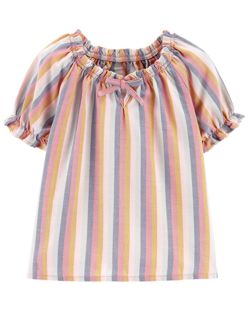Striped Puff Sleeve Top, , hi-res