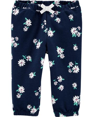 Floral Pull-On French Terry Pants