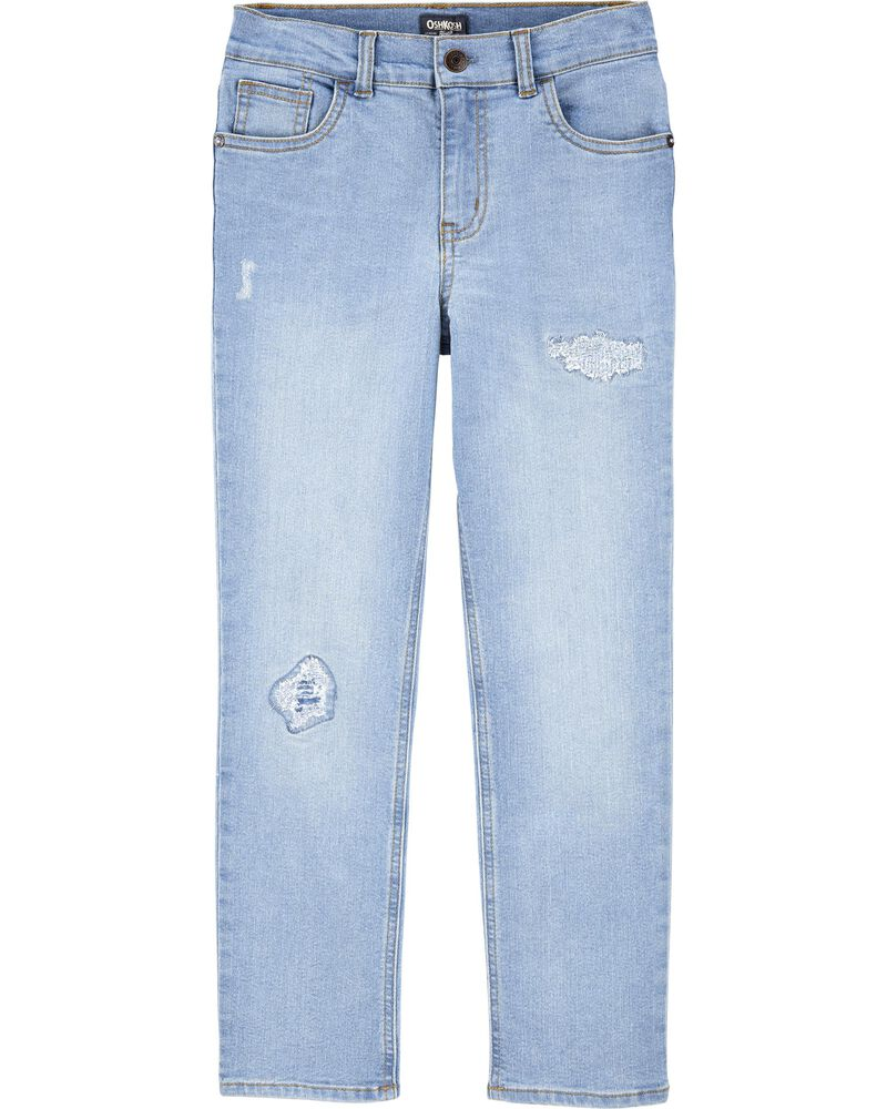 Stretch Rip and Repair Jeans - Slim Fit, , hi-res