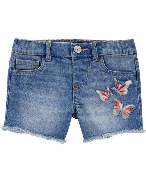 Short en denim extensible avec papillon