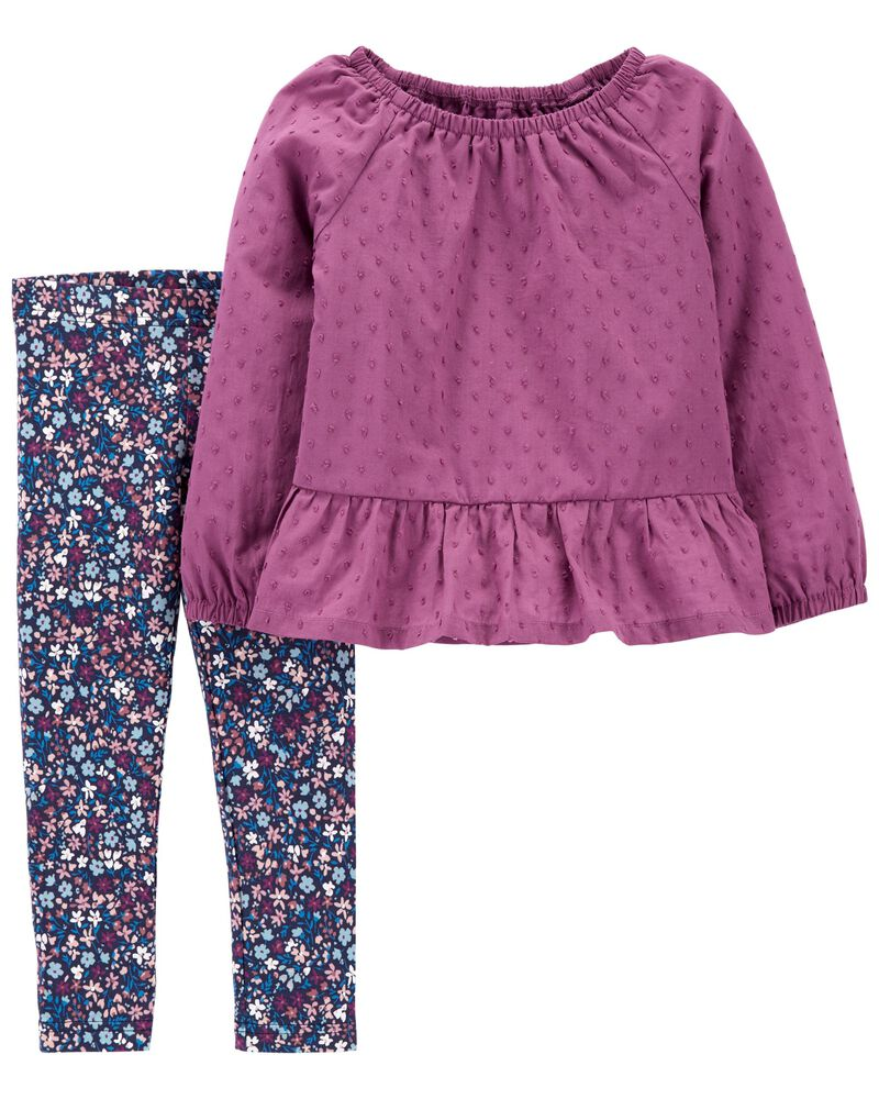 2-Piece Peplum Top & Floral Legging Set, , hi-res