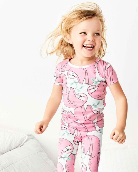 4-Piece Sloth Snug Fit Cotton PJs