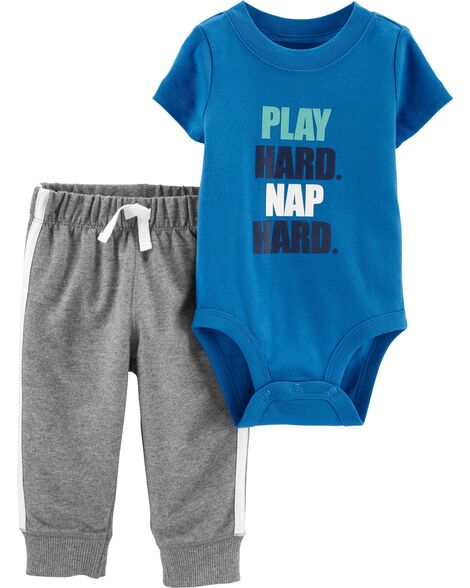2-Piece Play Hard Bodysuit Pant Set