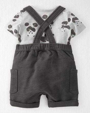 2-Piece Organic Slub Knit Shortalls...