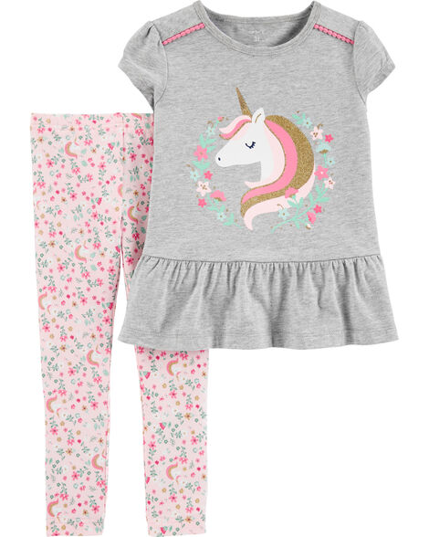 2-Piece Unicorn Peplum Top & Floral Legging Set