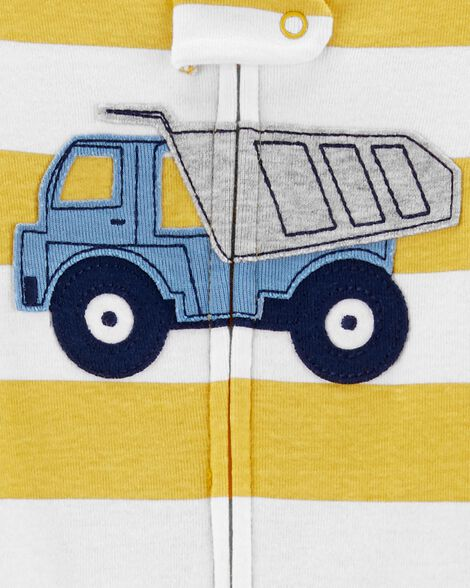 1-Piece Construction Truck Snug Fit Cotton Footless PJs