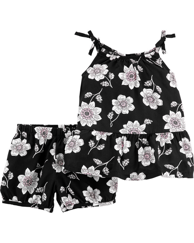 2-Piece Floral Poplin Tank & Short Set, , hi-res