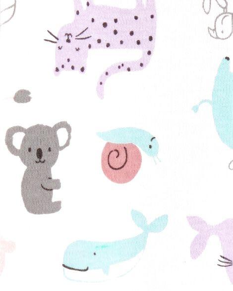 Grenouillère en coton à boutons-pression avec animaux du safari