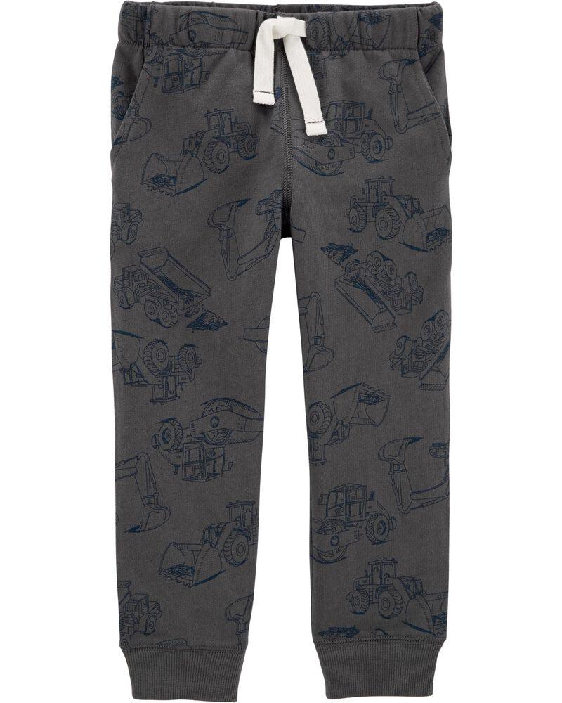 Pantalon de jogging à enfiler en jersey bouclette motif construction, , hi-res