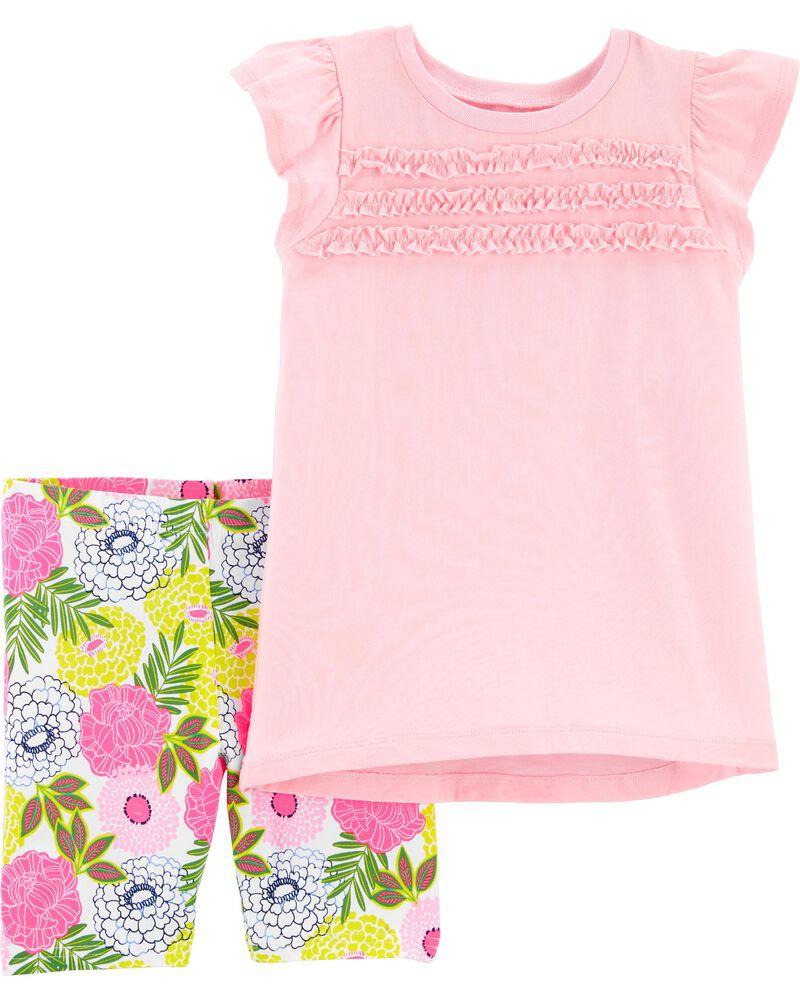 Ensemble 2 pièces t-shirt en jersey et short extensible fleuri, , hi-res