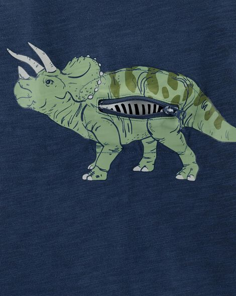 Interactive Dinosaur Layered-Look Slub Tee