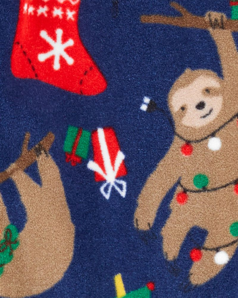 Pyjama 1 pièce à pieds en molleton motif de Noël , , hi-res