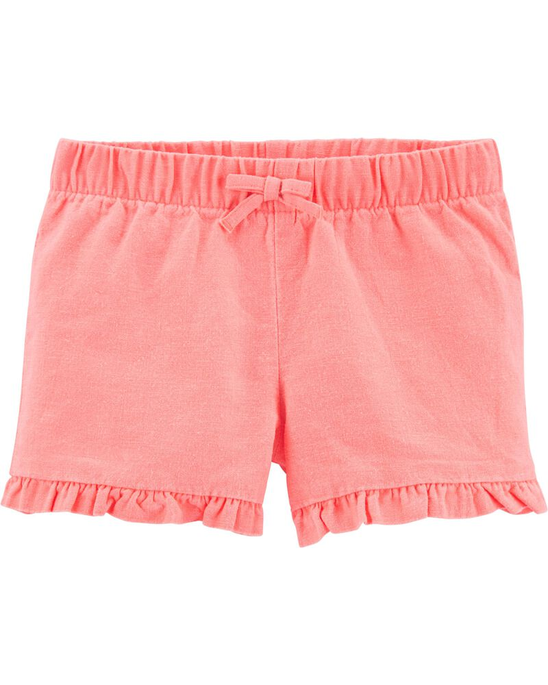 Ruffle Linen Shorts, , hi-res