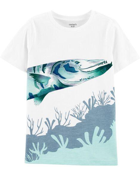T-shirt en jersey flammé à poisson