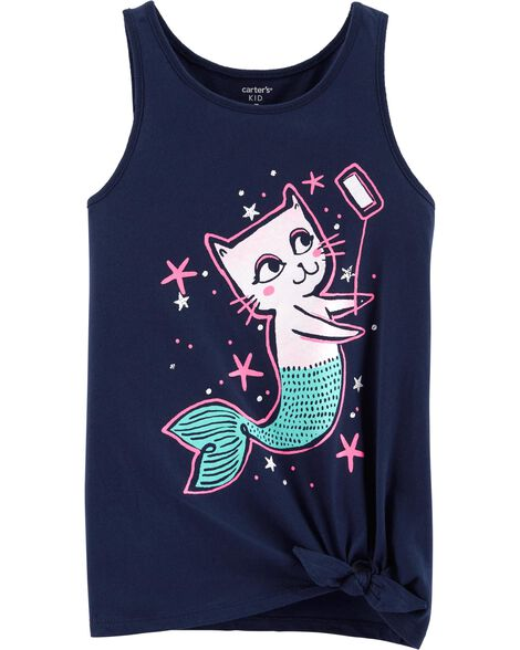 Cat Mermaid Selfie Tie Waist Tee