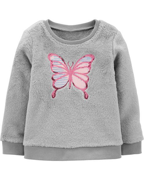 Sequin Butterfly Fuzzy Sweater