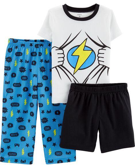 Pyjamas 3 pièces en polyester superhéros