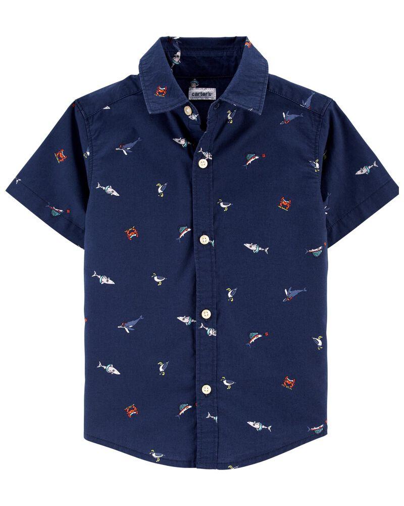 Chemise boutonnée de style nautique, , hi-res