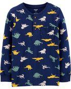 Dinosaur Slub Jersey Henley, , hi-res